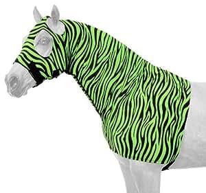 Tough 1 Spandex Mane Stay Hood with Full Zipper in Fun Prints, Neon Green Zebra, Medium