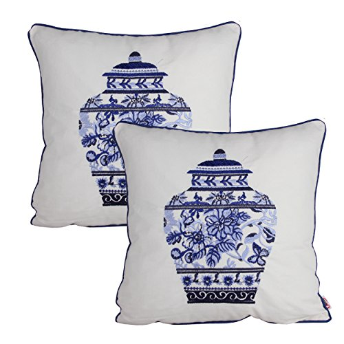 Queenie® - 2 Pcs Traditional Chinese Blue & White Porcelain Series 100% Cotton Embroidered Decorative Pillowcase Cushion Cover Throw Pillow Case 18 X 18 Inch 45 X 45 Cm (2, Pot 1)