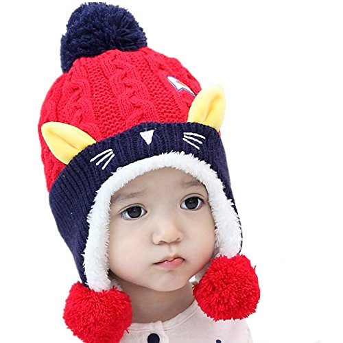 6 to 24 months Cute Baby Cartoon Cat hat (red)