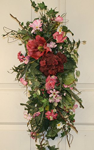Pink Blossom Silk Tear Drop Swag 28 in - Beautiful Alternative to a Spring Wreath For The Front - Summer Swag