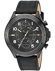 Tommy Hilfiger Mens Quartz Resin and Leather Casual Watch, Color:Black (Model: 1791345)