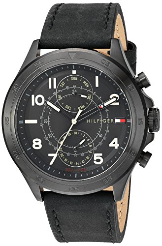 Tommy Hilfiger Men's Quartz Resin and Leather Casual Watch, Color Black (Model: 1791345)