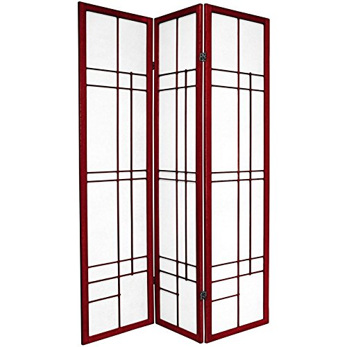 Oriental Furniture 6 ft. Tall Eudes Shoji Screen - Rosewood - 3 Panels by ORIENTAL FURNITURE