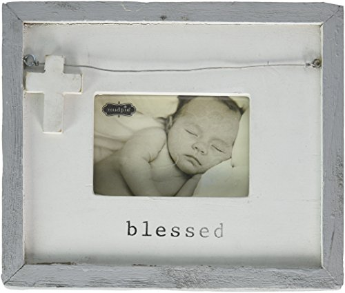 Frame Blessed - Mud Pie Gray Washed Distressed Blessed Picture Frame, White