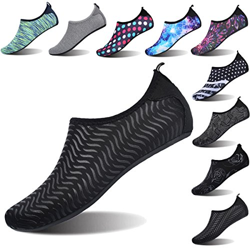 FEETCITY Womens Water Shoes Mens Water Footwear Quick-Dry Water Sports Beach Swim Shoes Stripe Black M(W:7.5-8.5,M:6.5-7.5)