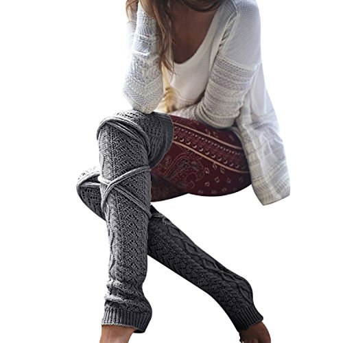 FUNOC Women Winter Warm Cable Knitted Long Boot Socks Over Knee Thigh High Stockings Leggings