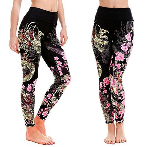 Snowfoller Legging, Women Dragon Floral Print Yoga Pants Casual Asymmetric Printing Sports Gym Workout Trouser (XL, Black)