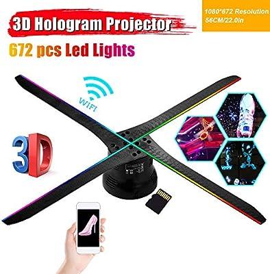 LOVE-HOME Holograma 3D proyector de luz Ventilador 56cm / WiFi ...