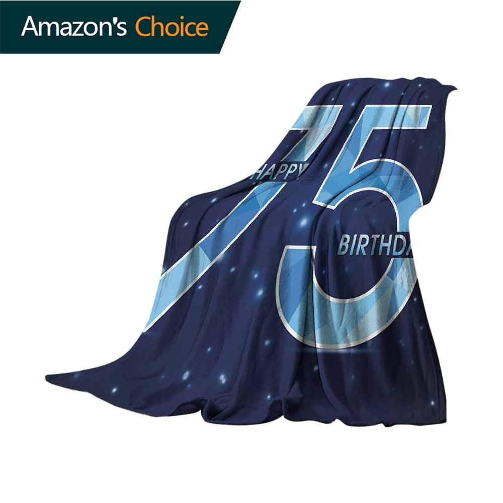 75Th Birthday Weighted Blanket Adult,Geometric and Abstract Design in Blue Colors with Stars Background Soft Fuzzy Cozy Lightweight Blankets,W62 X L60 Inch Dark Blue Pale Blue