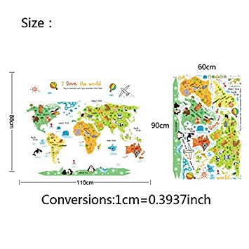 Batop Cartoon World Map PVC DIY Self Adhesive Vinyl Wall Stickers - Bedroom Home Decor for