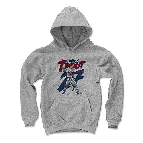 500 LEVEL Mike Trout Los Angeles Baseball Youth Sweatshirt (Kids Large, Gray) - Mike Trout Rough B