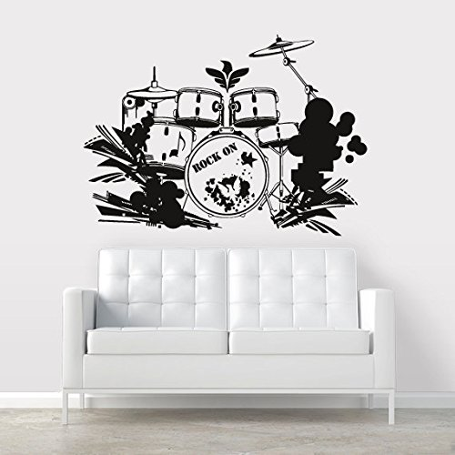 - Wall Decal Vinyl Sticker Decals Art Decor Design Sing Rock on Brums Percussion Instruments Music Wings Star Gift Man Bedroom Dorm (r355)