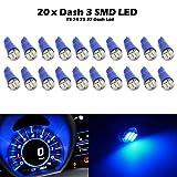 Partsam 20x Blue T5 Wedge 3-3014-SMD Speedometer Gauge Cluster LED Light Bulb 37 73 for Tercel