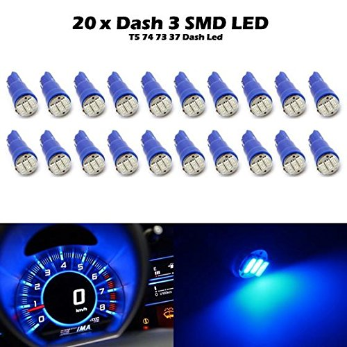 Partsam 20x Blue T5 Wedge 3-3014-SMD Speedometer Gauge Cluster LED Light Bulb 37 73 for Tercel by Partsam