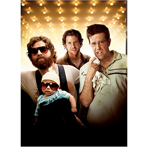 The Hangover (2009) 8 Inch x10 Inch Photo Ed Helms Knocked Out Tooth, Zach Galifianakis w/Baby & Bradley Cooper in Background - In Cooper Bradley Hangover