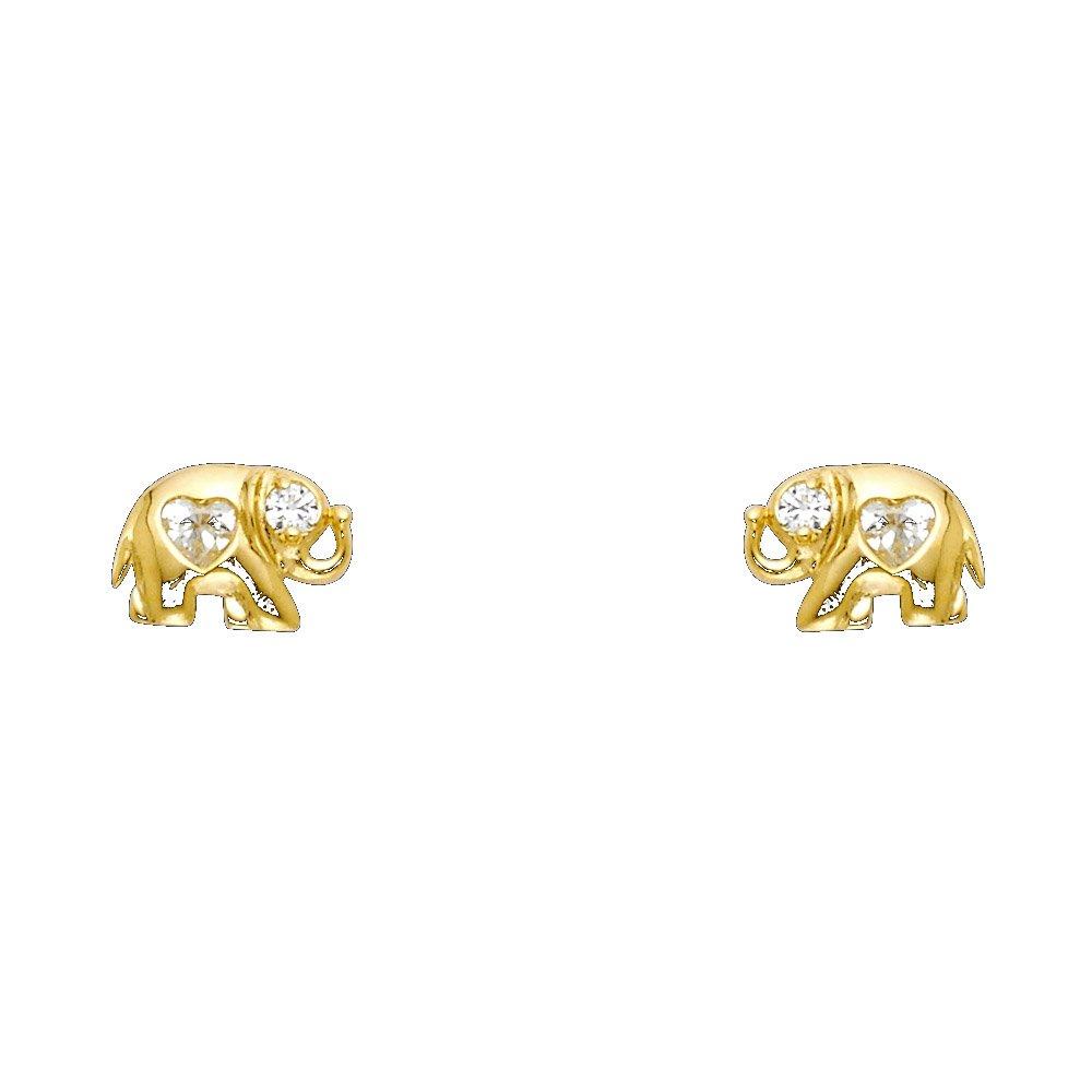 Wellingsale 14K Yellow Gold Polished Elephant Heart Stud Earrings With Screw Back