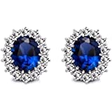 Caratcube Blue 18K White Gold Plated Austrian Crystal Stud Earrings For Women