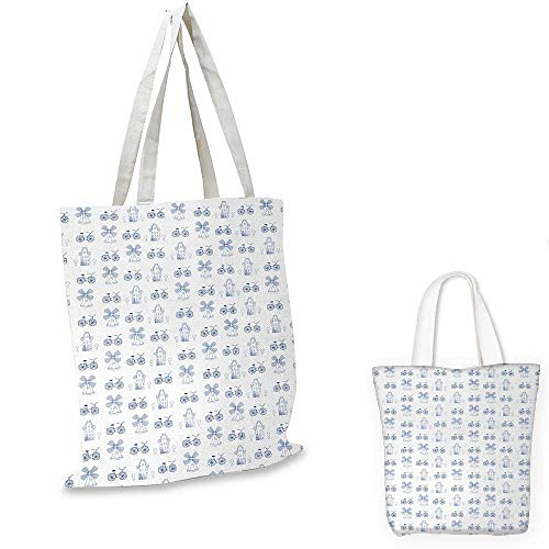 Bicycle small clear shopping bag Dutch Ornament Drawings in Blue Windmill Narrow House Bicycle Topiary Tree sloth shopping bag White Night Blue. ()