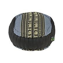 Kapok Dreams™ Zafu Round Meditation Cushion 100% Kapok, Blue Elephants Thai Design Pillow