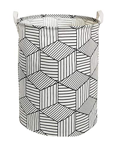 HIYAGON Large Sized Storage Baskets with Handle,Collapsible & Convenient Home Organizer Containers for Kids Toys,Baby Clothing(White Rhombus)