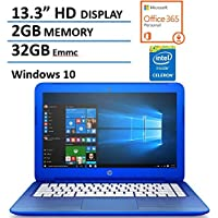 HP Stream 13.3 HD Display Laptop Computer with 1 Year Office 365 Personal, Intel Dual Core Celeron N3050 1.6Ghz CPU, 2GB Memory, 32GB Emmc, USB 3.0, HDMI, WIFI, Bluetooth, Card Reader, Windows 10