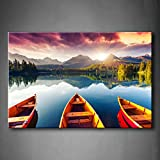 Mountain Lake Sunset Three Boats Trees Wall Art Painting The Picture Print On