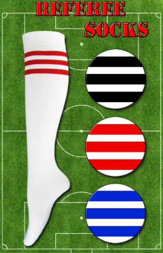 1 Pair 118 Socks Ladies Referee Football Knee High Socks Fancy Dress Party (red)