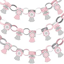 Big Dot of Happiness Pink Winter Wonderland - 90 Chain Links and 30 Paper Tassels Decoration Kit - Holiday Snowflake Birthday Party and Baby Shower Paper Chains Garland - 21 feet