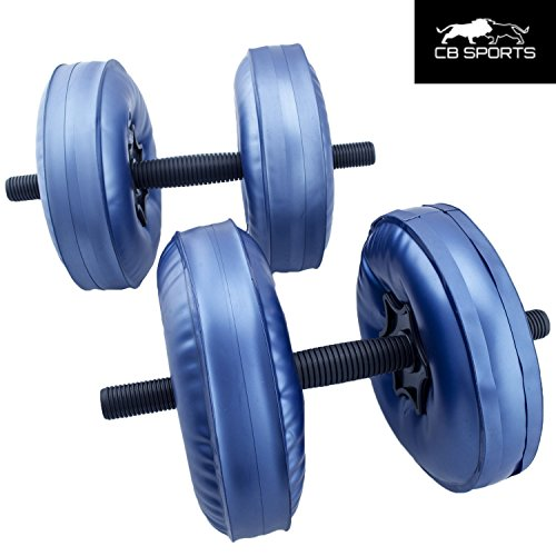 2017 NEW CB Sports Deluxe Travel Dumbbells Medium Weight upto 22lb/10kg Gym and Home Workout Equipment (Set of 2) FILL WITH WATER Adjustable, Portable Exercise Equipment Water Weights BLUE