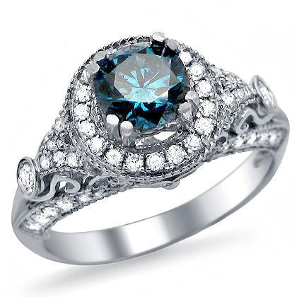 130ct-Blue-Round-Diamond-Engagement-Ring-14k-White-Gold-Vintage-Style
