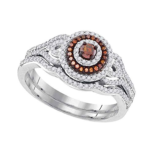 10kt White Gold Womens Round Red Color Enhanced Diamond Bridal Wedding Engagement Ring Band Set 1/2 Cttw (Round Red Diamond Si3)