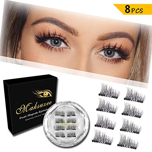 Maksuzee Magnet Eyelashes Dual Magnetic False Eyelashes with NO GLUE,Fake Lashes Extension for Natural Look 8 Pieces /2 pair