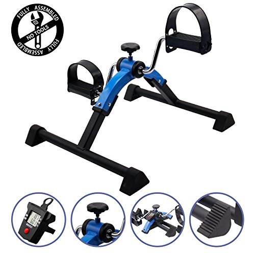 EF Deluxe FOLDING Pedal Exerciser with Electronic Display for Legs and Arms (Deluxe Pedal Exerciser Electronic)