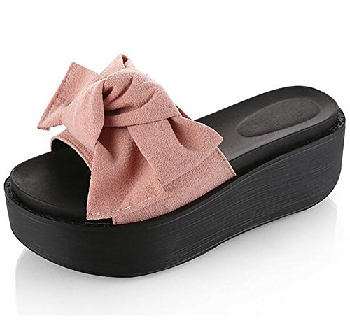 Bowtie Femmes SHANGXIAN Plate Été Confortable Tongs Sandales Chaussons 37 Pink Forme Pink 0rd0wZqF