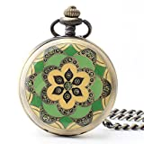 Zxcvlina Classic Smooth Creative Flower Carved Retro Pocket Watch Green Watchcase Bronze Mechanical Pocket Watch with Chain Women's Gift Suitable for Gift Giving