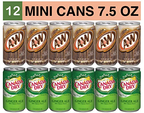 Variety Soda Drinks - 12 Pack of 7.5 Fluid Ounce Mini Cans - (6) A&W Root Beer, (6) Canada Dry Ale