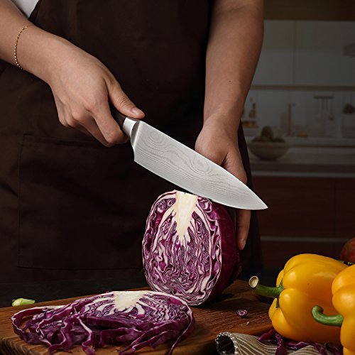 PAUDIN Pro Kitchen Knife 8 Inch Chef's Knife N1 German High Carbon Stainless Steel Knife with Ergonomic Handle, Ultra Sharp, Best Choice for Home Kitchen and Restaurant by PAUDIN (Image #7)