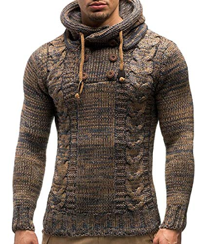 XiaoTianXinMen XTX Men's Button Cable Knit Contrast Colors Hooded Pullover Sweaters Light Tan Medium