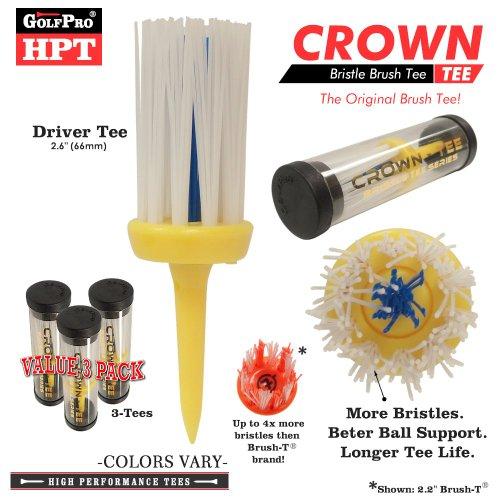 Xlt Brush Tee (Golf Pro HPT Series CROWN-TEE Driver Tee Brush Golf Tee Set (Value)