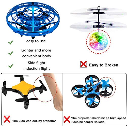 zerkar Flying Ball Mini Drone Toy Hand-Controlled Drone 360° Rotating and Shinning LED Lights Flying Toys Interactive Infrared Induction Helicopter Ball for Boys and Girls Kids Gifts (Blue) by zerkar (Image #5)