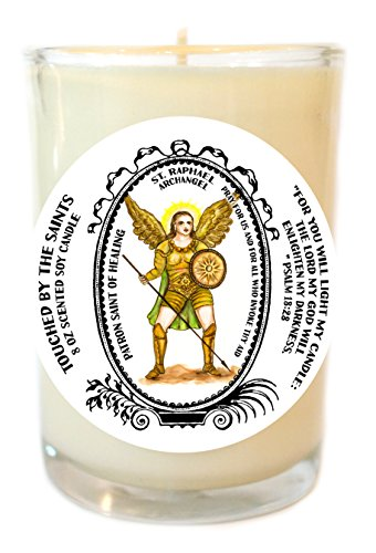Saint Raphael Archangel Patron of Healing 8 Oz Scented Soy Glass Prayer Candle by Touched By The Saints