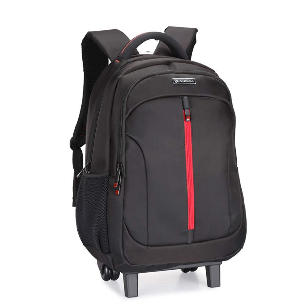超軽量防水トロリーバックパックフライト認定手荷物スーツケース、エクストラ強カジュアルデイパック、ホイール付きトロリーキャビンラゲッジラップトップコンパートメント。  Black B07LH1LH6S
