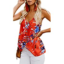 MODARANI Womens Tank Tops Button Down Shirts V Neck Sleeveless Strappy Loose Casual Camis