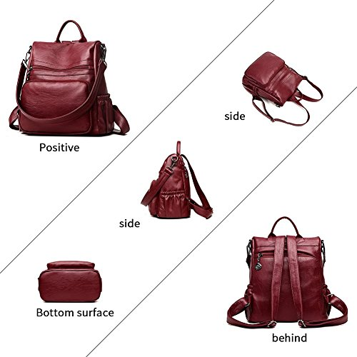 DSLONG Women Backpack Purse Bag Travel Anti-theft Leather Purse and Handbags (wine Red) by Guangkuo (Image #7)
