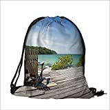 Drawstring Backpack Bags old chair for looking sea 3 polyester fabric Folding Shoulder Cinch Bag(13.7W x 17.7L INCH)