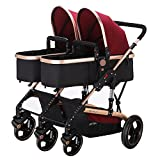 Frjjthchy Abreast Ultralight Double Stroller Baby Twins Stroller Bassinet with Awning (Red)