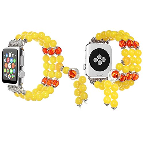 Baokai Apple Watch Beaded Band 42mm Classic Vintage Crystal Sport Beaded Stretch Elastic Wristband Strap with Accessory for Apple Watch Series 1/2/3 Women Girls,Yellow