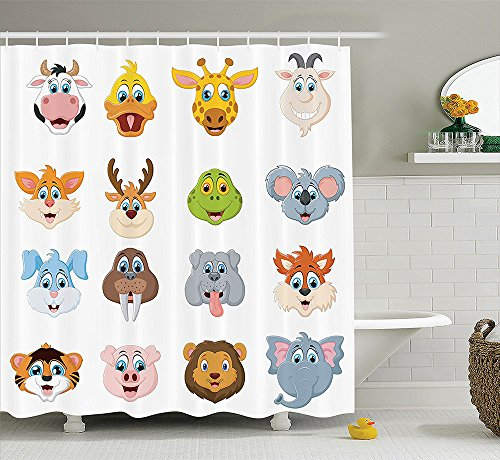 [Cartoon Decor Collection Cartoon Comic Design of Collection of Smiling Animal Faces Visages Koala Fox Pi Caricature Polyester Fabric Bathroom Shower Curtain] (Pi Day Costume Ideas)