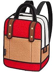 JumpFromPaper Woolen Red Backpack, Bag for Women, Laptop Bag, Cartoon Bag, jump from paper