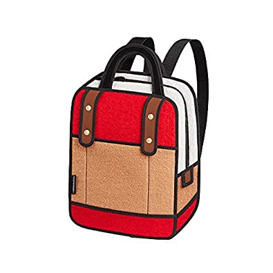 JumpFromPaper Red Woolen Backpack, Bag for Women, Laptop, Cartoon, Unique Bag, Design
